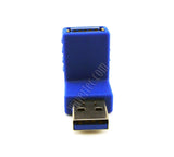 Wavertec Right Angle Upward USB Connector Male to Female USB 3.0 Adapter USB to USB Extension 90 Degree Blue Extender - wavertec.com - 3