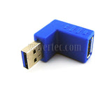 Wavertec Right Angle Upward USB Connector Male to Female USB 3.0 Adapter USB to USB Extension 90 Degree Blue Extender - wavertec.com - 4