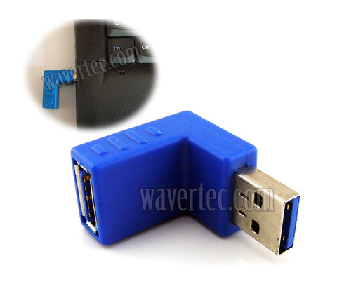 Wavertec Right Angle Upward USB Connector Male to Female USB 3.0 Adapter USB to USB Extension 90 Degree Blue Extender - wavertec.com - 1