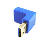 Wavertec Right Angle Downward USB Connector Male to Female USB 3.0 Adapter USB to USB Extension 90 Degree Blue Extender - wavertec.com - 3