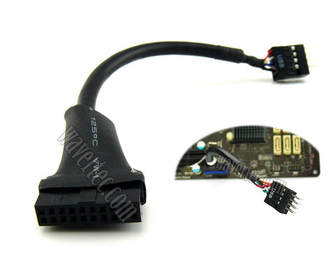 Wavertec USB 3.0 to USB 2.0 Motherboard Adapter Convert USB3.0 to 2.0 20 Pin Female to 9 Pin Male Short Cable - wavertec.com - 1