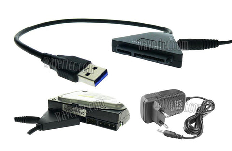 Wavertec EU Plug 22 Pin 2.5 3.5 SATA to USB3.0 Adapter Cable with DC Power Adapter Hard Drive USB Adapter - wavertec.com - 1