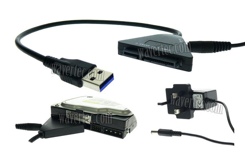 Wavertec UK Plug 22 Pin 2.5 3.5 SATA to USB3.0 Adapter Cable with DC Power Adapter Hard Drive USB Adapter - wavertec.com - 1