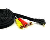 Wavertec 1.8M 3.5mm Jack Male to 3 RCA Male Composite Cable Adapter Right Angle Converter - wavertec.com - 3