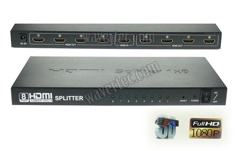 Wavertec HDMI 1.4 1 in 8 out Splitter Box 1080P 3D HDCP Full HD External Power Metallic Case US Plug - wavertec.com - 1