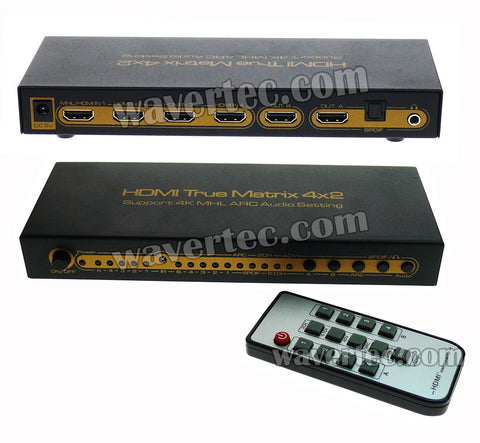 Wavertec 4x2 Matrix HDMI 1.4 Splitter & Switch 4 in 2 out 4K 3D UK Plug Remote Control HDCP Multi Screen Source 1080P Dolby LPCM 7.1 CH Metallic Case LED Female to Female HDMI Hub Extender Connector Switch OEM - wavertec.com - 1