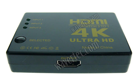 Wavertec Ultra HD 4K 3 in 1 Out 3:1 HDMI Switch Box HDMI 1.4 1080P - wavertec.com - 1