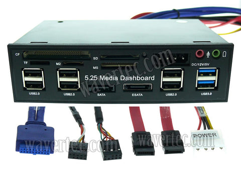 "Wavertec 5.25"" 5.25 Front Panel Media Dashboard 6 USB3.0 eSATA SD TF - wavertec.com - 1"