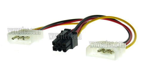Wavertec 2 Molex to 6 Pin PCI E Adapter Cable 6 Pin Female to 2 x 4 Pin Male Computer Power Cord Splitter - wavertec.com - 1