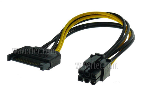 Wavertec 6 Pin to SATA Power Cable Adapter Converter for PCI-E to 15 Pin SATA Lead Cord Computer Internal Connector PC DIY - wavertec.com - 1