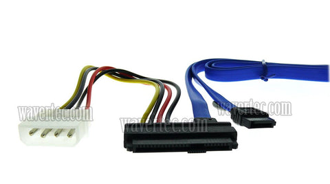 Wavertec 29 Pin SAS Hard Drive to 7 Pin SATA with 4 Pin IDE Molex Power Adapter Cable for SAS HDD RAID
