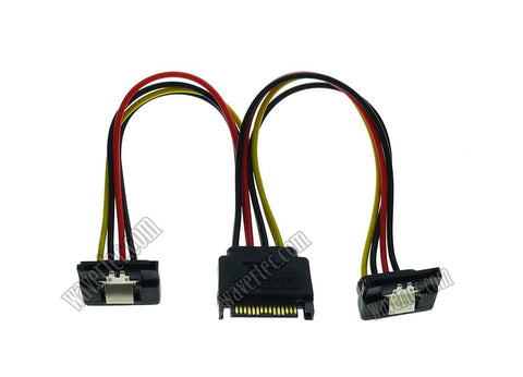 Wavertec 20cm Right Angled SATA Power Cable Splitter 1 to 2 Extension Cable 1:2 15 Pin SATA