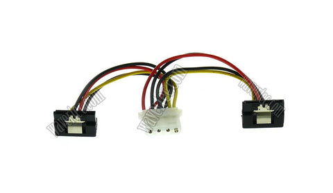 Wavertec 4 Pin Molex Female to 2x Right Angle 15 Pin SATA Female Power Splitter Adapter Cable 1:2