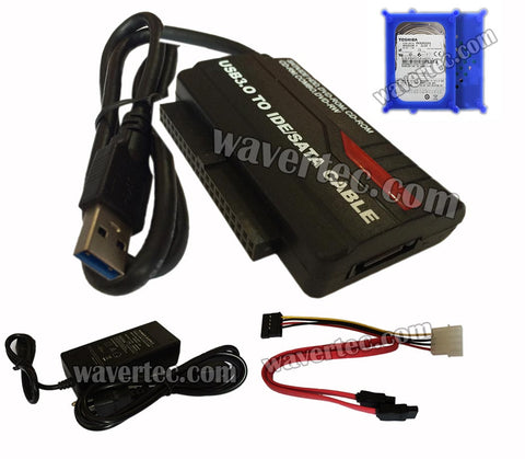 Wavertec 1M 2.5 + 3.5 IDE + SATA to USB 3.0 + 2x 2.5 HDD Case + OTB + 4 Pin Power 3 in 1 Hard Drive Cable for 2.5 IDE 3.5 IDE SATA I SATA II Hard Drive HDD OEM - wavertec.com - 1
