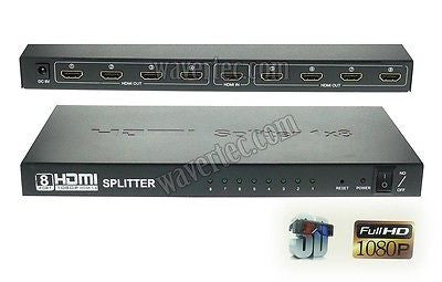 1 In 8 Out HDMI 1.4 Splitter Box 1:8 Multi Screen 3D 1080P HDCP Full HD UK Plug - wavertec.com - 1