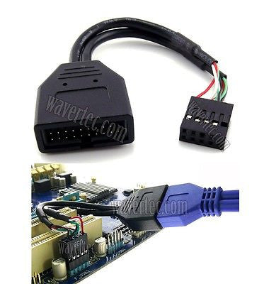 Motherboard USB 2.0 to 3.0 Adapter 9 Pin Female to 20 Pin Male Header Cable USB 3.0 Front Panel to USB 2.0 Motherboard Converter Computer Internal Cable - wavertec.com - 1