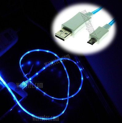 Blue 1M 3Ft Micro USB Male to USB A Male Illuminating Data Sync and Charge Cable - wavertec.com