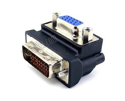 Wavertec Right Angle D-Sub SVGA VGA Female to 24+5 DVI-I Dual Link Male Adapter Converter - wavertec.com - 1
