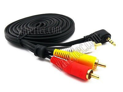 Wavertec 3M 3.5mm Jack Male to 3 RCA Male Cable Composite Adapter Right Angle AV Cable - wavertec.com - 1