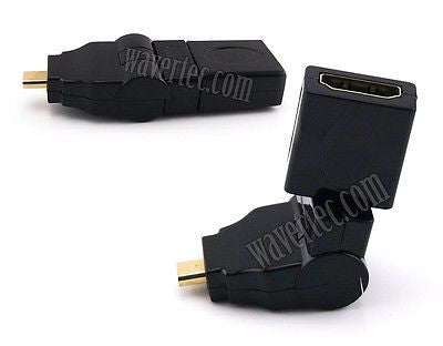 Wavertec 360 Degree Rotate Right Angle Micro HDMI Male to HDMI Female Adapter Connector - wavertec.com