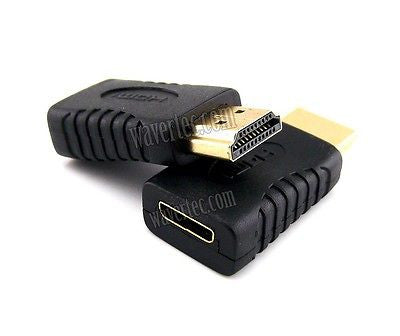 Mini HDMI Female to Standard HDMI Male Adapter Type C to A Connector HDMI 1.4 3D - wavertec.com