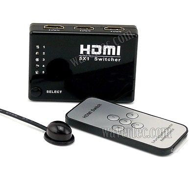 Wavertec 5 in 1 Out HDMI 1.4 1.4B Switch Box  1080P 3D IR Remote Control Hub Mini Size - wavertec.com - 1