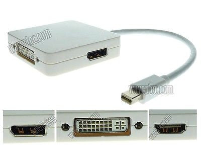 Wavertec 3in1 Short Adapter Cable Mini DP Displayport Male to DP 24+5 DVI HDMI Female OEM - wavertec.com - 1