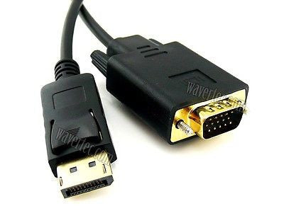 Wavertec 1.8M 20 Pin Displayport DP Male to VGA Male Long Adapter Cable Converter OEM - wavertec.com