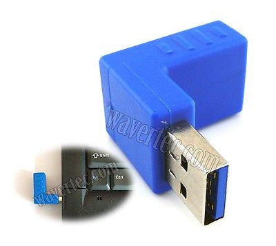 Wavertec Right Angle Downward USB Connector Male to Female USB 3.0 Adapter USB to USB Extension 90 Degree Blue Extender - wavertec.com - 1