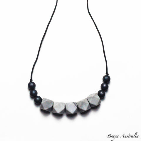 Marble Black Row Silicone Necklace Sensory - Silicone Necklace By Braya Australia