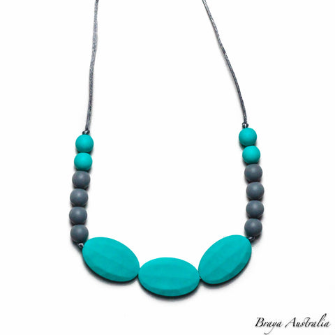 Braya Turquoise & Grey - Silicone Necklace By Braya Australia