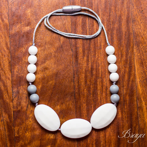 Braya White & Grey - Silicone Necklace By Braya Australia