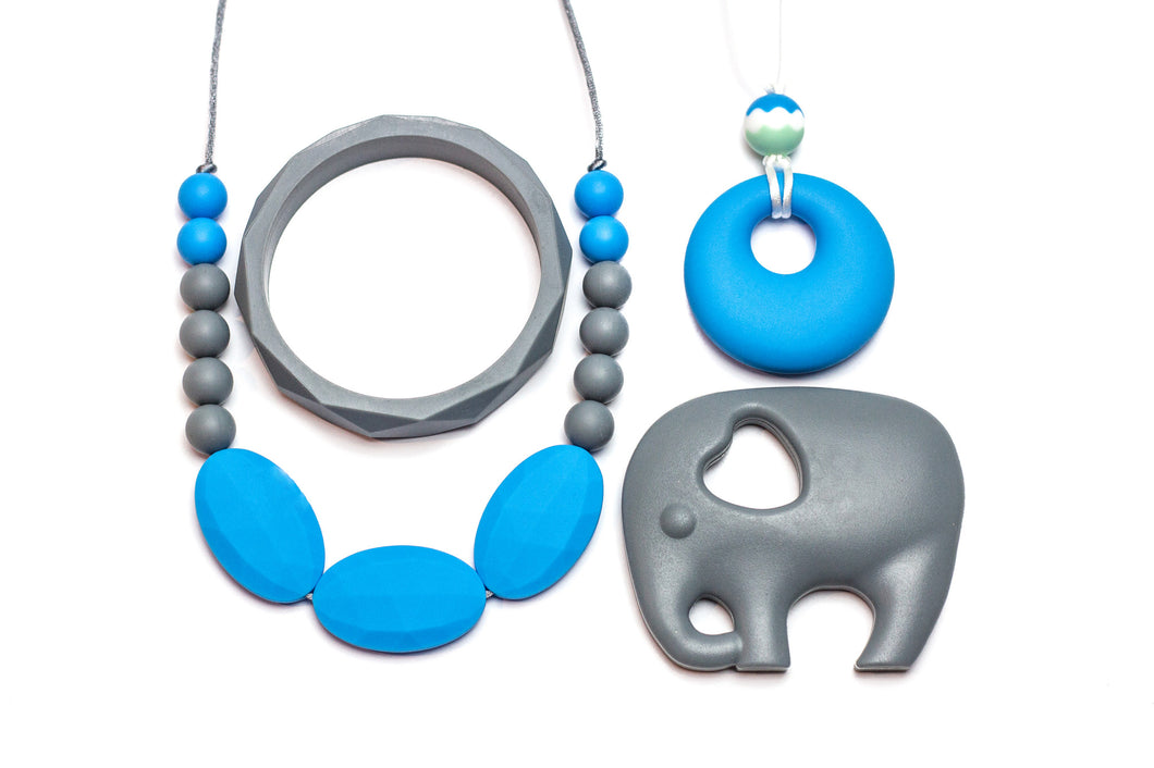 Gift Set Blue and Grey - Silicone Necklace By Braya Australia