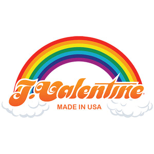 J. VALENTINE RAINBOW LOGO. MADE IN USA