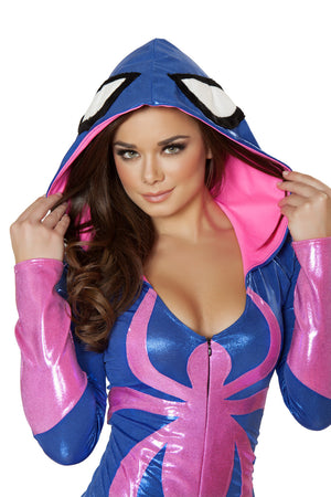 CA108 Pink Spider Hooded Romper Costume