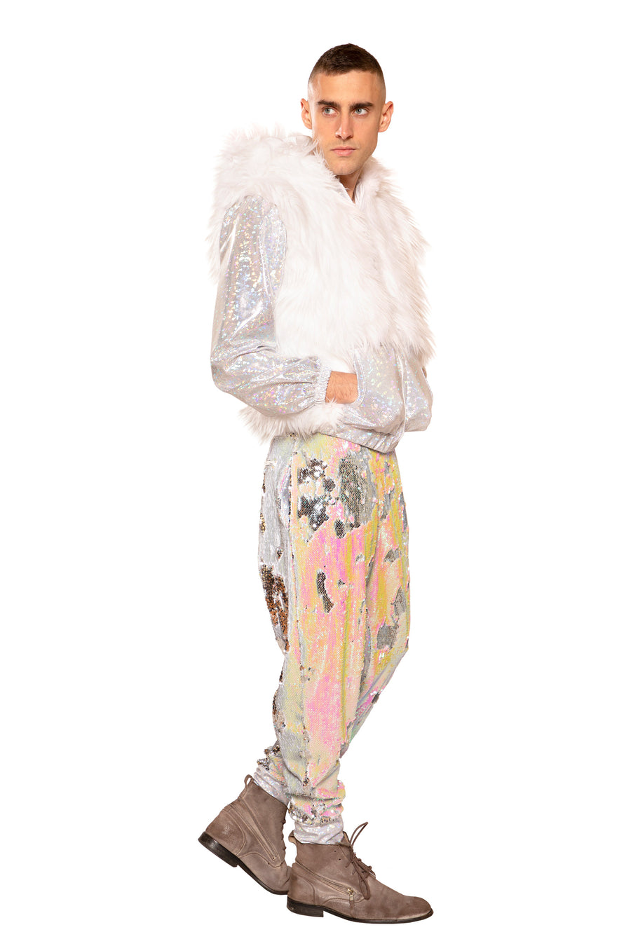 FF215 - LIGHT-UP METALLIC & FAUX FUR JACKET