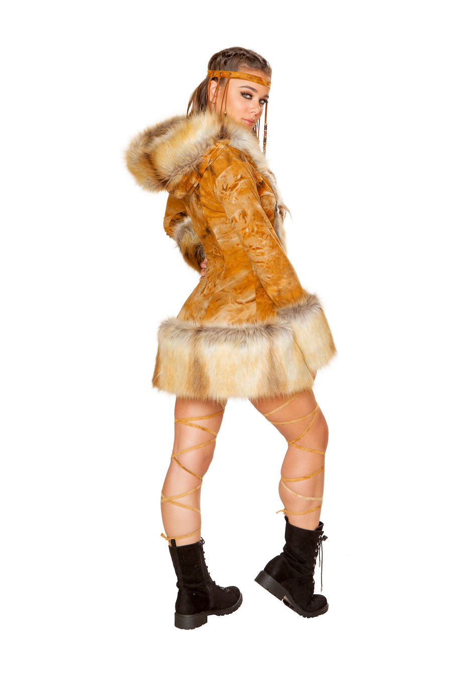FF221 Fox Faux Fur Hooded Coat ( DISCONTINUED)