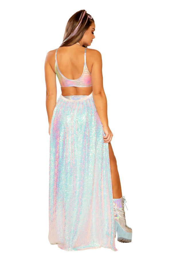 FF364 - Sequin Mesh Harness Gypsy Skirt