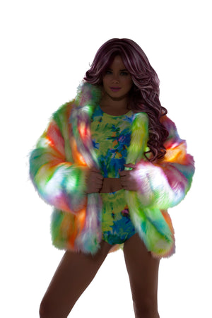 FF421 Rainbow Sherbet Light Up Hip Length Fur Coat