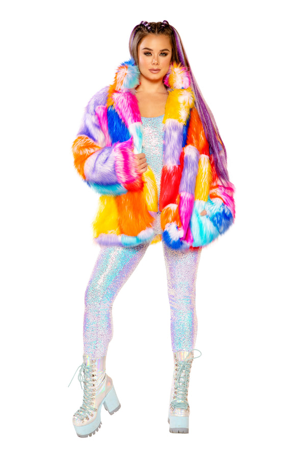 FF936 - RAINBOW PATCHWORK FAUX FUR COAT