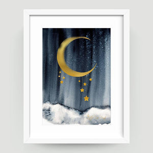 Midnight Blue Gold - Little Rae Prints