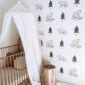 Pine Tree + Bear Wall Decals