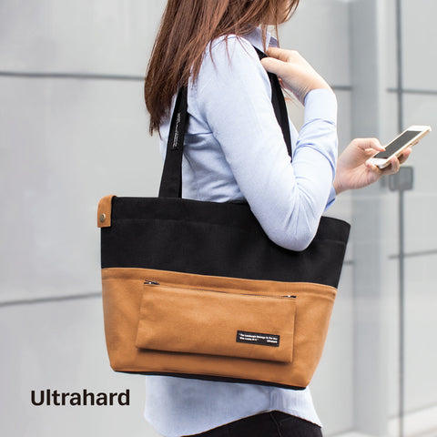 Ultrahard Classic Motto Snap-on Tote Bag - Black Brown