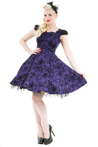 Hearts and Roses London - Purple Flocked Evening Swing Dress