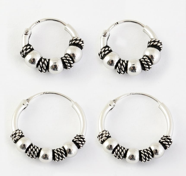 Kingsley Ryan - Bali Ball and Rope Silver Ear Hoops