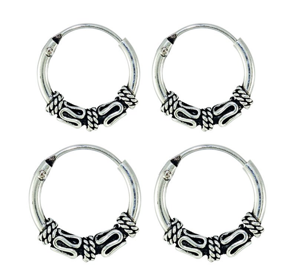 Kingsley Ryan - Bali Rope and Coil Silver Ear Hoops