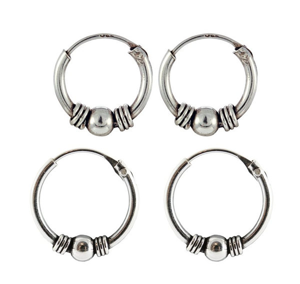 Kingsley Ryan - Bali Weave and Ball Silver Ear Hoops