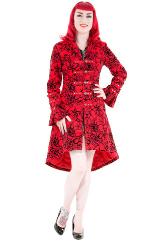 Hearts and Roses London - Red Flocked Tattoo Coat