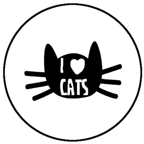 25mm Button Badge - I Love Cats