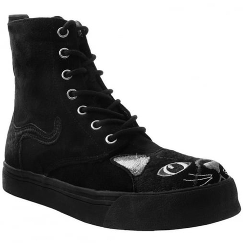 T.U.K -  Black Faux Suede Embroidered Kitty Combat Boot Sneaker
